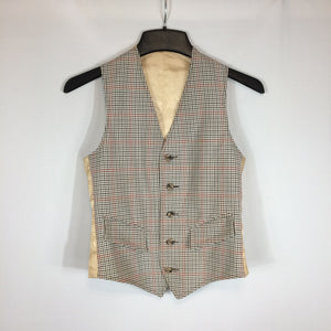 Mens Small Brown Cream Checked Plaid 5 Button Suit Vest, 34 Chest