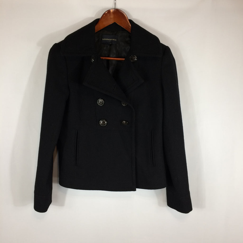 Banana Republic Black Wool Double Breasted Short Pea Coat, XS