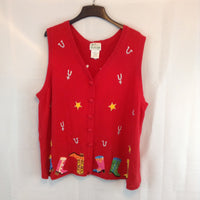 Vintage The Quacker Factory Red Western Boots Spurs & Stars Sweater Vest, 2X