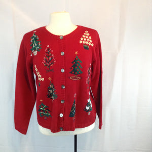 Talbots Red Christmas Tree Cardigan Sweater, Beaded, Ugly, Medium