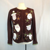 Heirloom Collectibles Brown Green Santa Ugly Christmas Sweater, Small