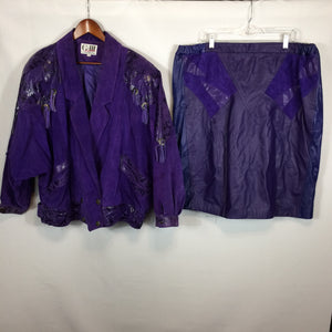 1980's G-III Purple Leather Batwing Jacket & Skirt, Fringe, Snakeskin Plus size