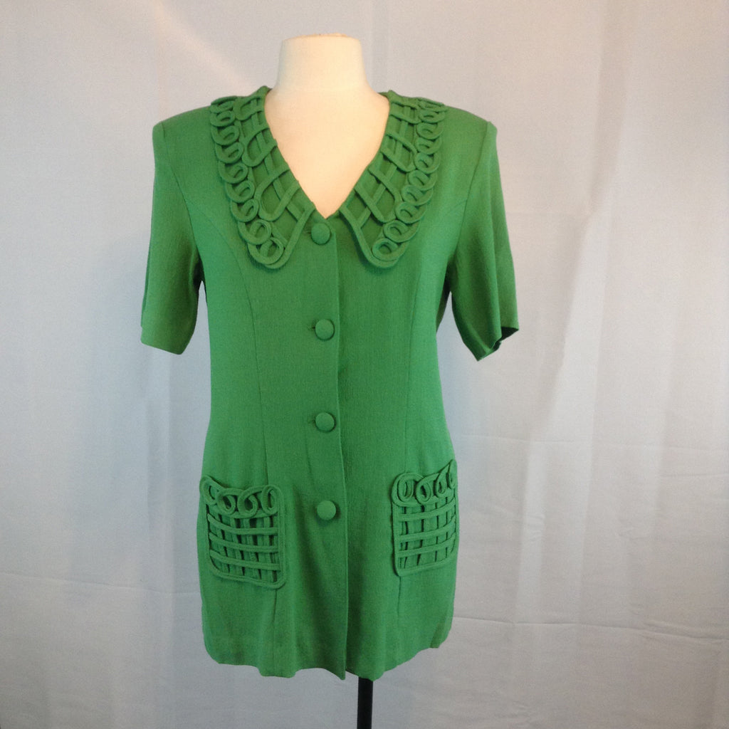 Vintage 1970s 1980s License Long Green Blouse, Lattice Collar Pockets, M