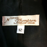 Norm Thompson Womens Long Black Linen 4 button Blazer, Jacket Size 12