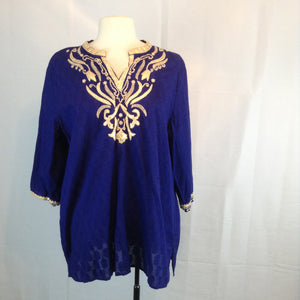 Chico's Purple and Gold Sari Style Tunic Shirt, 3, sz 16 XL