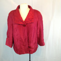 JM Collection Iridescent Red Single Button Evening Jacket, Shrug 16