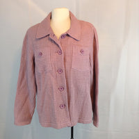 Womens Cabela's Waffle Weave Purple Button Front Jacket shirt XL