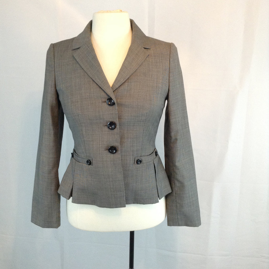 Ann Taylor Petites Gray Fitted Pleated Peplum Wool Jacket, 2P