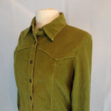Live A Little Green Fitted Corduroy Shirt Jacket, Western Style Snap Front, M