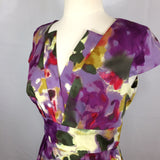 Calvin Klein Watercolor Floral Tailored Dress, V-Neck, Cap Sleeve, 38 bust