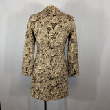 Donna Rae Brown Tribal Floral Mid Length Coat, Size 8