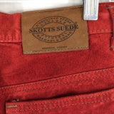 Vintage 80's Skotts Suede Red Jeans Trousers, High Rise Leather, size 30
