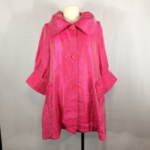 Damee Inc Shimmer Pink Jacket, Back Pleat Swing Tunic Signature Shawl Collar XL