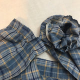 Vintage Third Generation Blue Plaid 70's Ruffle Prairie Blouse, Victorian Country