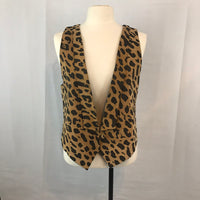 80's Ultima Moda Cheetah Leather Rocker Vest, Shawl Lapel, Single Button