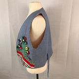 Blue Floral Applique Vest, Black, Red Bandana, Flowers Garden Summer