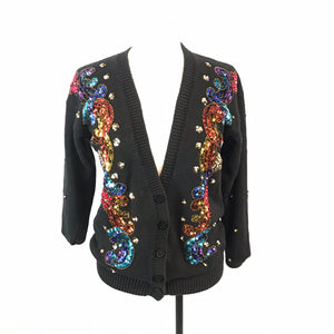 Brittany Leigh Black Sequin Bedazzled Cardigan Sweater, Small, Ugly Christmas?