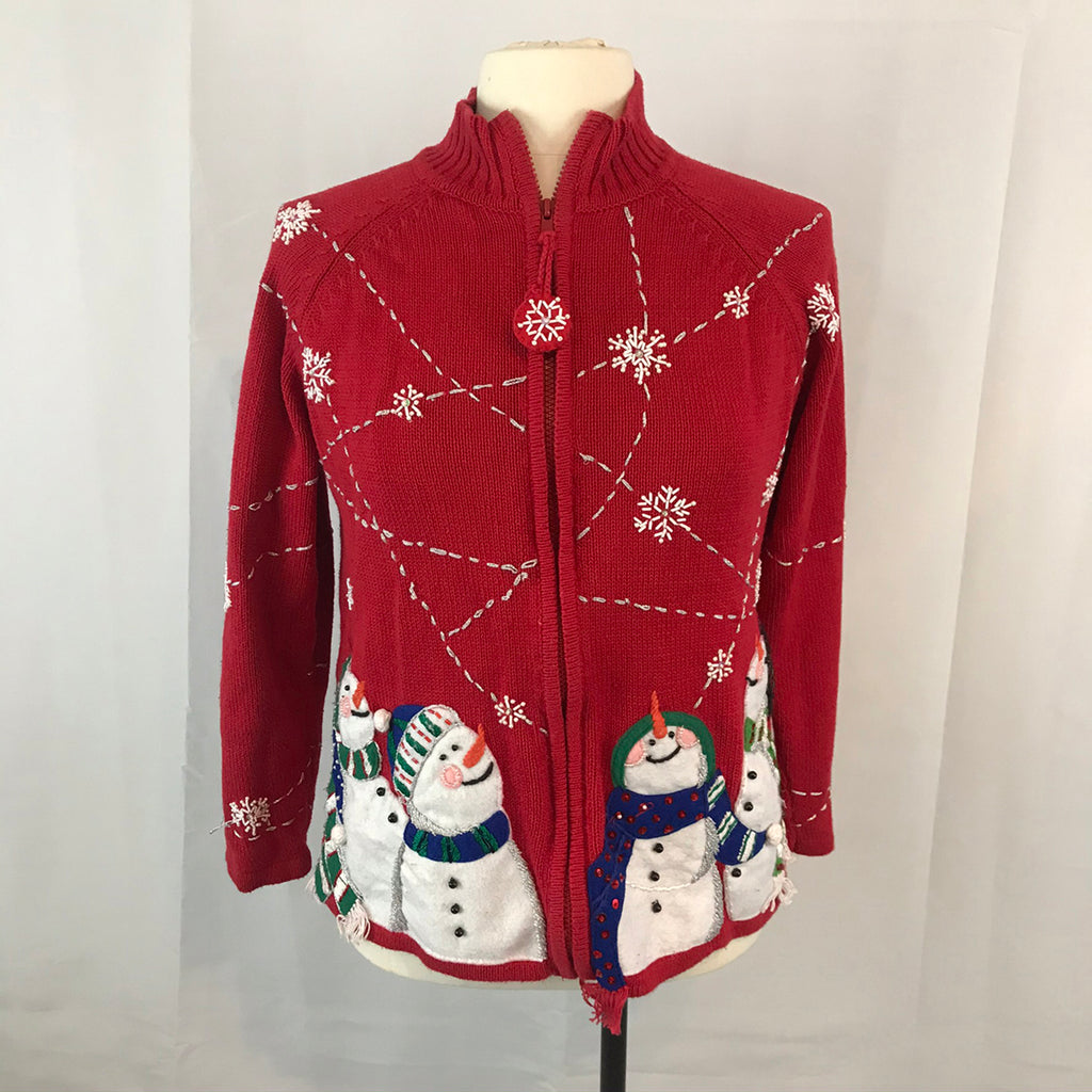 Red Zip Up Ugly Christmas Sweater with Snowman, Heirloom Collectibles 2004 Small