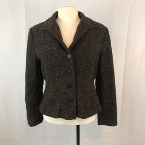 Apostrophe Women's Brown Wool Tweed Blazer, Jacket Size 14