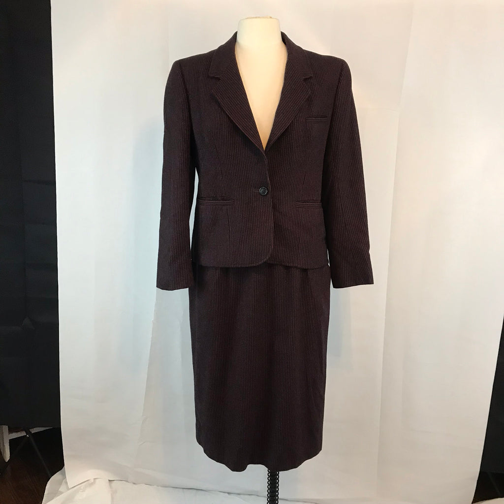 80's Evan Picone Womens Pin Striped Wool Blazer and Skirt Suit, 38 Bust 29 Waist