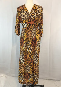 Vintage 60's 70's Sexy Maxi Animal Print Mod Dress, 38 bust 30 waist