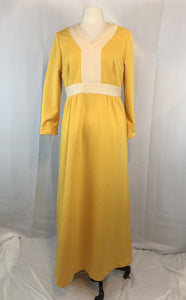 Vintage 60's 70's Yellow Maxi Dotted Swiss Double Knit Mod Dress, 40 bust 34 waist