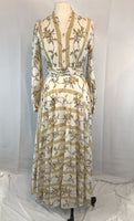 Vintage 60's 70's Beige and Cream Striped Floral Maxi Hostess Dress, 38 bust 27 waist