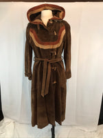 Vintage 70's M.S. Collectibles Womens Long Suede Leather Trench Coat, Hooded Duster