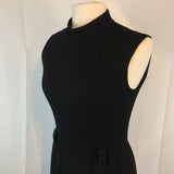"Vintage Sleeveless Little Black Dress, Mock Neck, Wide Belt Loops Bust 38"" Waist 26"""
