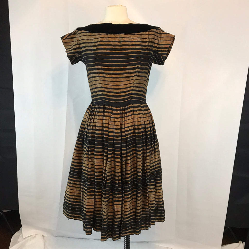 Vintage Suzy Perette 50's Black and Bronze Party Dress, 1950's Full Skirt