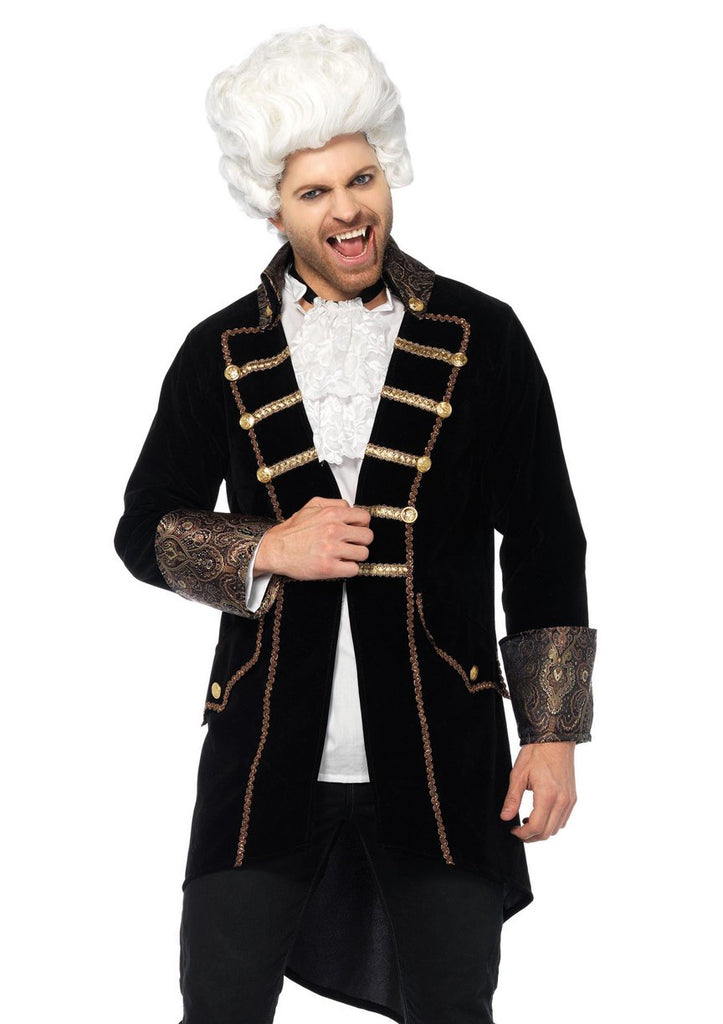 Deluxe Count Dracula Costume, Black Velvet Frock Coat - Nevermore Costumes