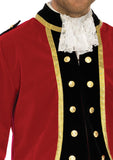 Mens Red Velvet Colonial Regency Coat - Nevermore Costumes