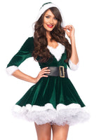 Sassy Mrs. Claus Costume, Green - Nevermore Costumes
