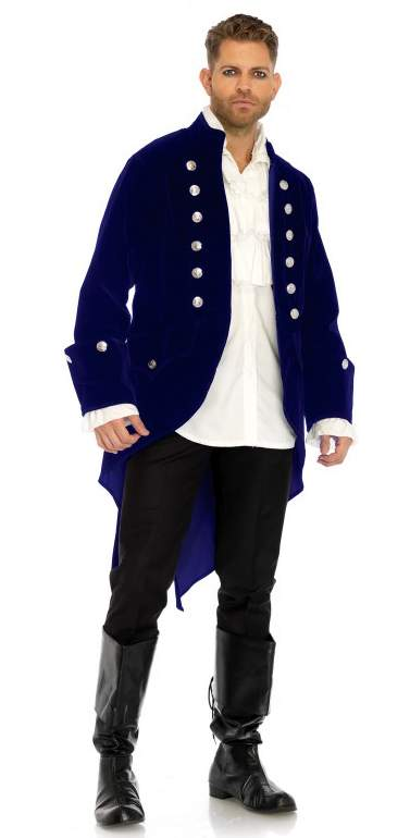 Men's Blue Velvet Regency Coat - Nevermore Costumes