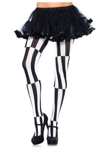 Woven Opaque Striped Optical Illusion Pantyhose, Black and White, Plus Size - Nevermore Costumes