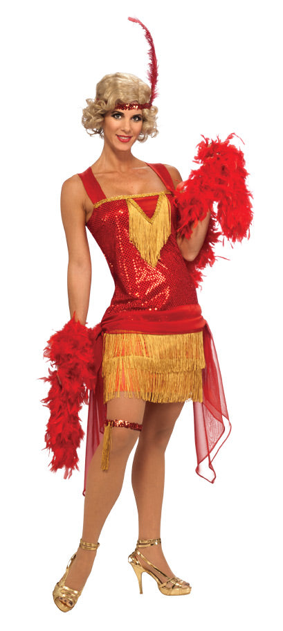 Cotton Club Beauty Flapper Costume, Red - Nevermore Costumes