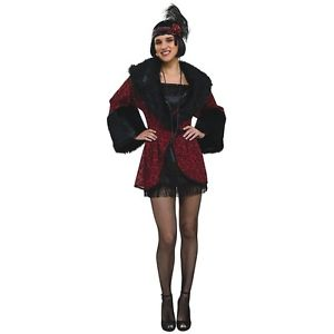 1920's Flapper Coat Red Brocade Faux Fur Trim - Nevermore Costumes