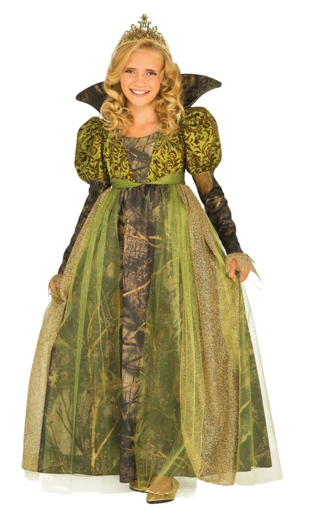 Girls Deluxe Green Medieval Forest Queene Costume - Nevermore Costumes