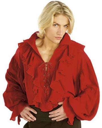 Red Gauze Pirate Shirt - Nevermore Costumes