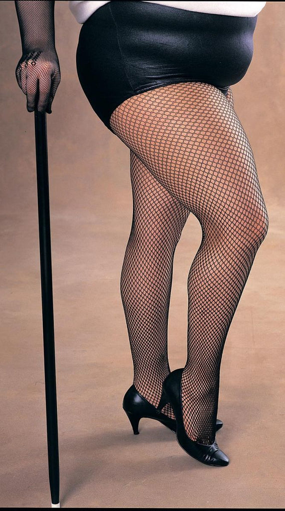 Ladies' Plus Size Fishnet Tights, Black - Nevermore Costumes