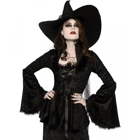 Black Soul Crushed Velvet Top, Opus Collection - Nevermore Costumes