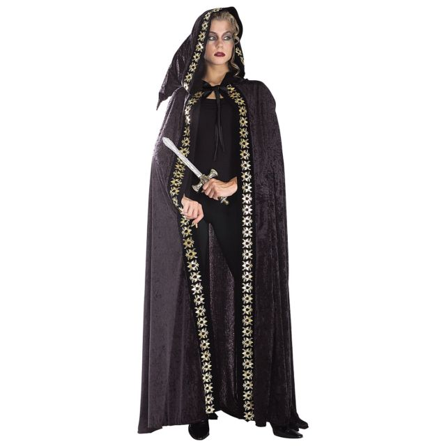 Long Black Crushed Velvet Hooded Cape with Printed Trim - Nevermore Costumes