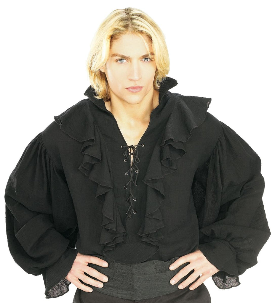 Mens Black Pirate Renaissance Buccaneer Costume Shirt Adult Standard - Nevermore Costumes