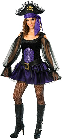 Women's Shipmate Piratess Costume, Black and Purple Pirate - Nevermore Costumes