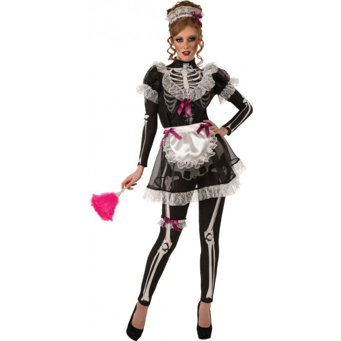 Glow In The Dark Skellie Maid Costume, Skeleton - Nevermore Costumes