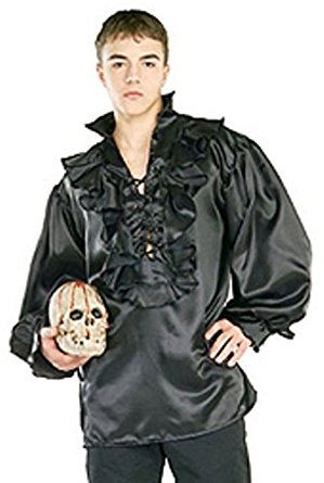 Black Satin Pirate Costume Shirt - Nevermore Costumes