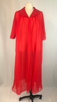 Vintage Chiffon Sheer Red Peignoir Robe with lace collar, Texsheen