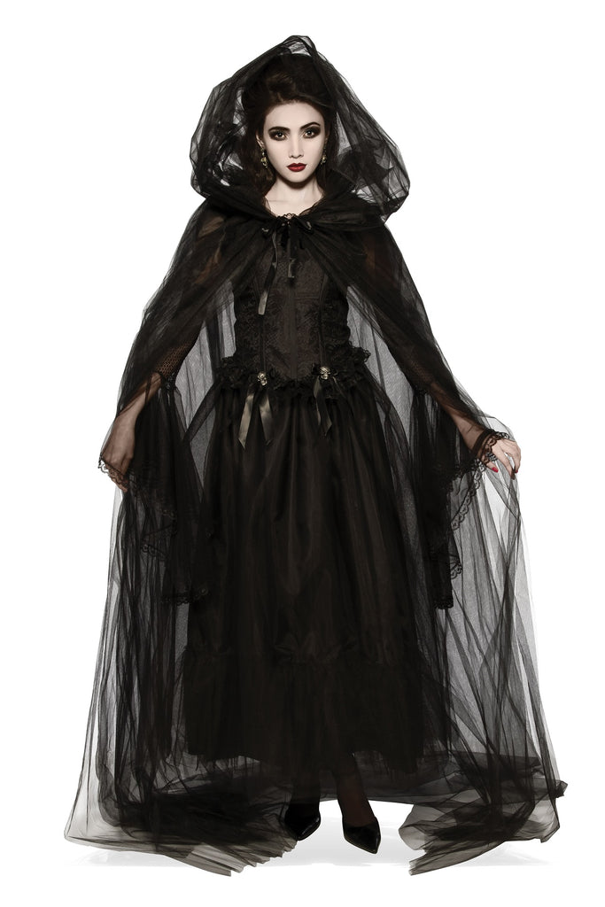 Sheer Black Hooded Cape, Opus Collection - Nevermore Costumes