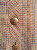 Chanel Boutique Tan and Cream Tweed Jacket, Blazer 98P, size 42