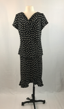 Black and White Polka Dot 2 piece Flowy 90's Style Dress